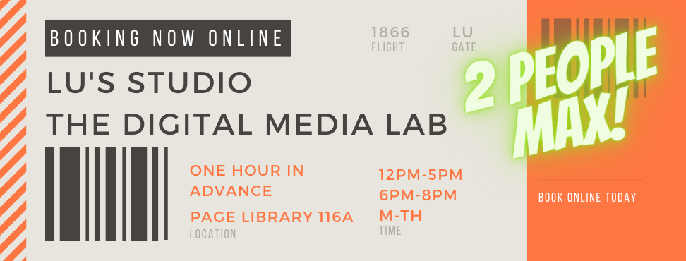 Page Library Digital Media Lab Booking Advertisement in the form of a flight ticket